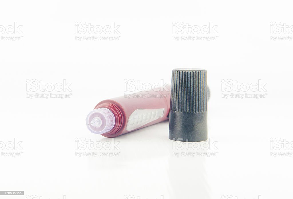 Red insulin pen injection royalty-free stock photo