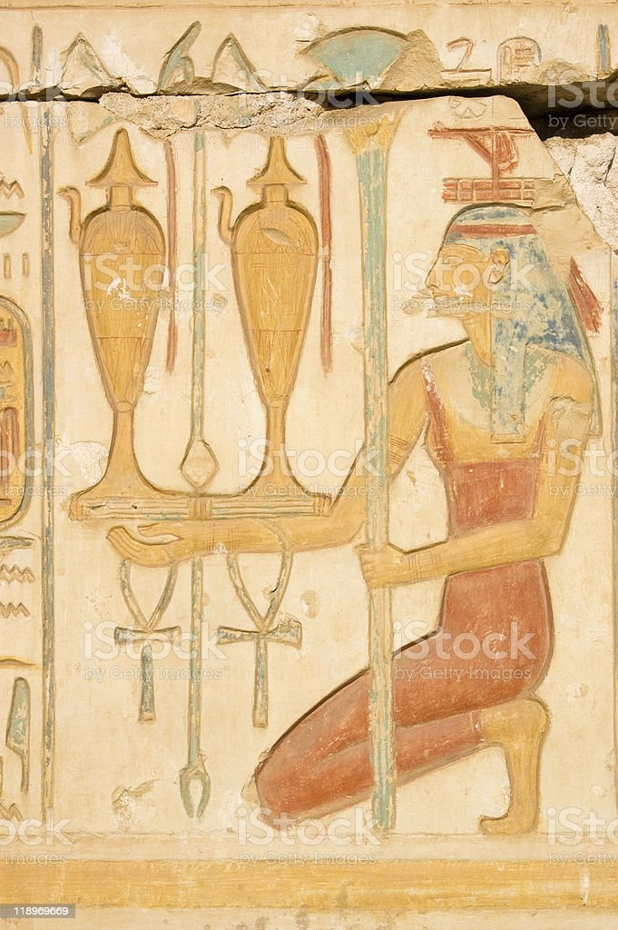 Red Isis with wine, Ancient Egypt stock photo