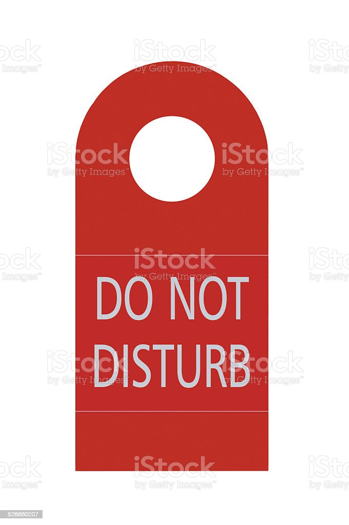 Red Isolated Do Not Disturb Door Handle Tag, Large Closeup stock photo