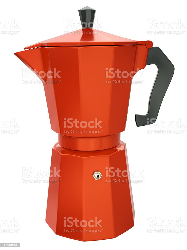 Red Italian coffee maker on a white background stock photo