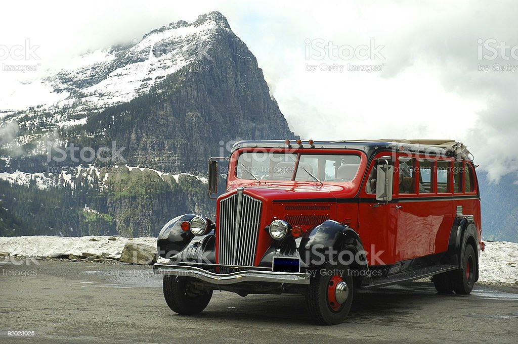 Red Jammers Bus at Glacier National Park, Montana stock photo