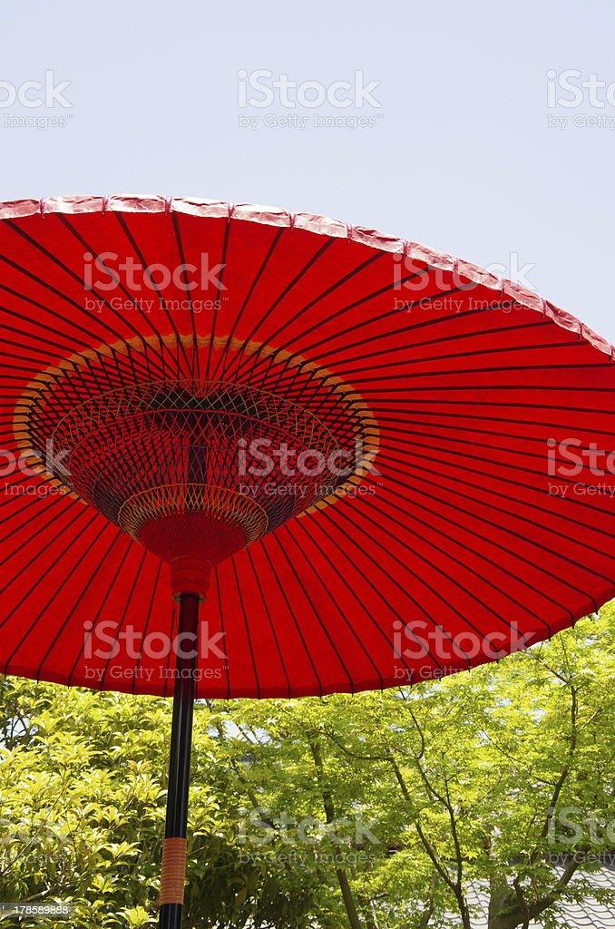 red Japanese umbrella (parasol) stock photo