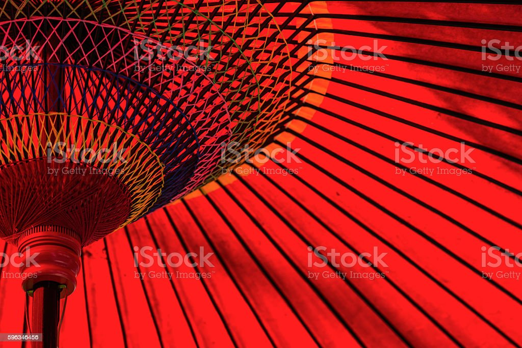 Red Japanese umbrella stock photo