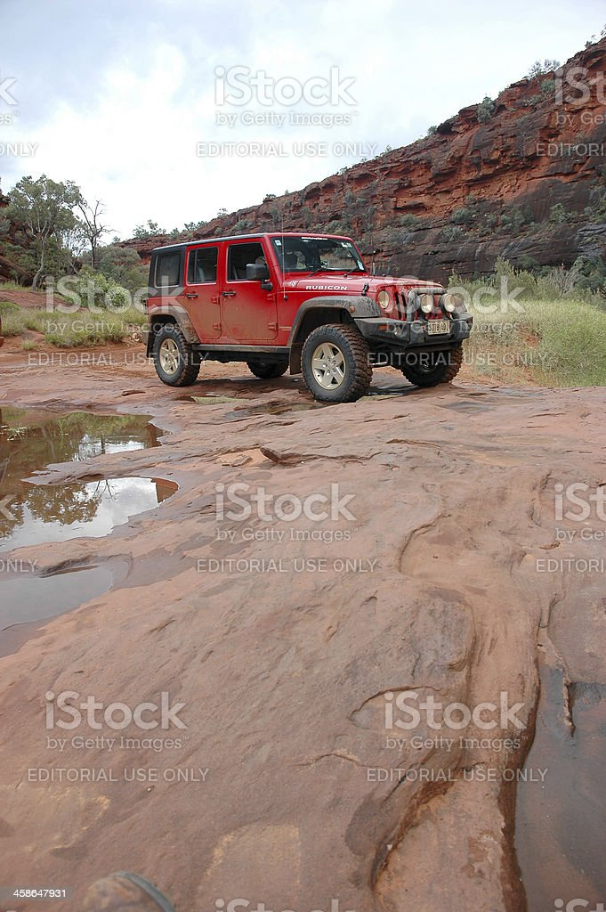 Red Jeep Wrangler, 4x4, 4wd, offroad, Palm Valley, Northern Territory stock photo