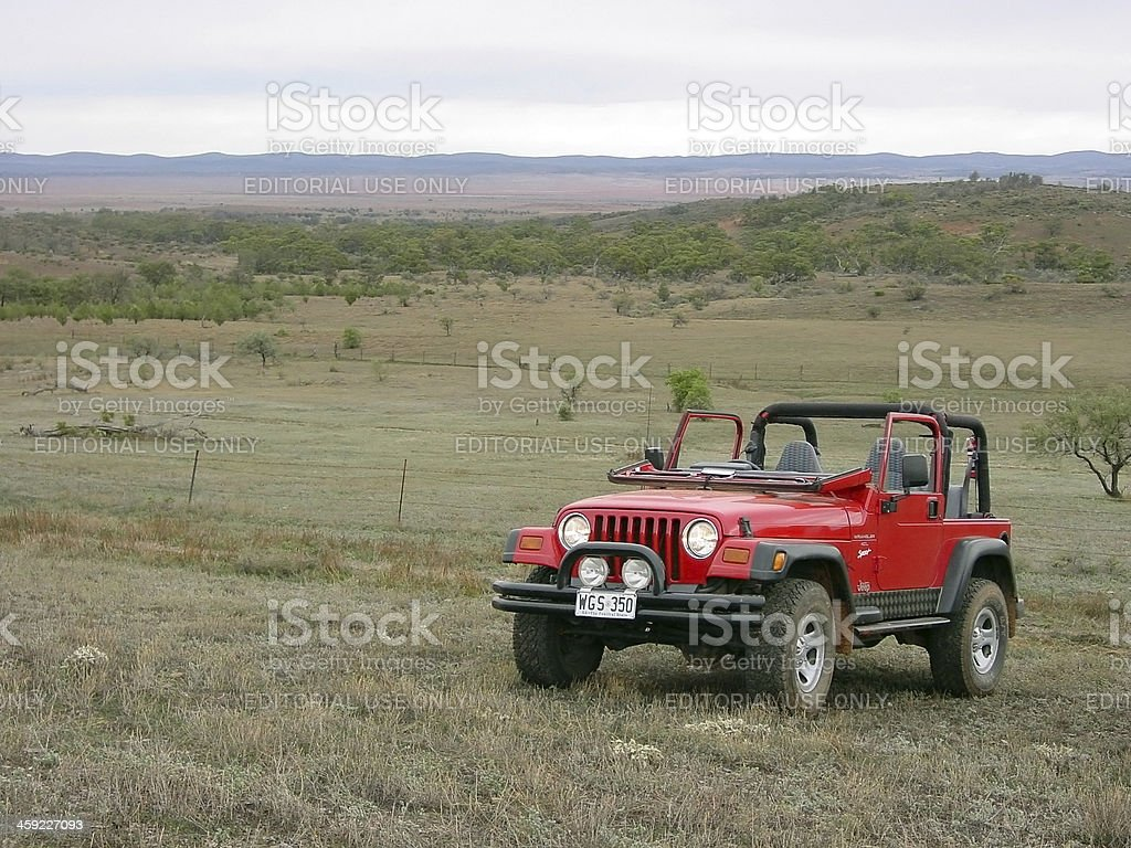 Red Jeep Wrangler windscreen folded down Flinders Ranges stock photo