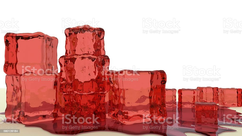 red jello cubes 3d render stock photo