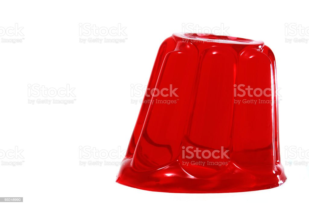 Red Jell-O leaning to the side stock photo