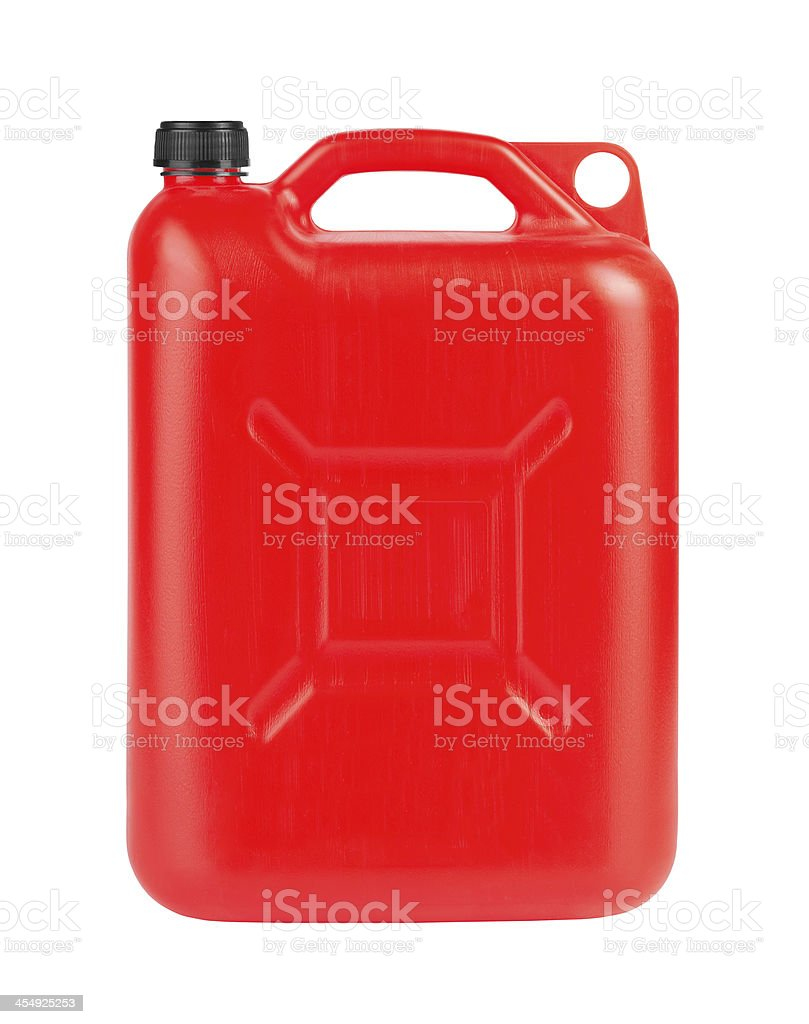 Red jerrycan stock photo
