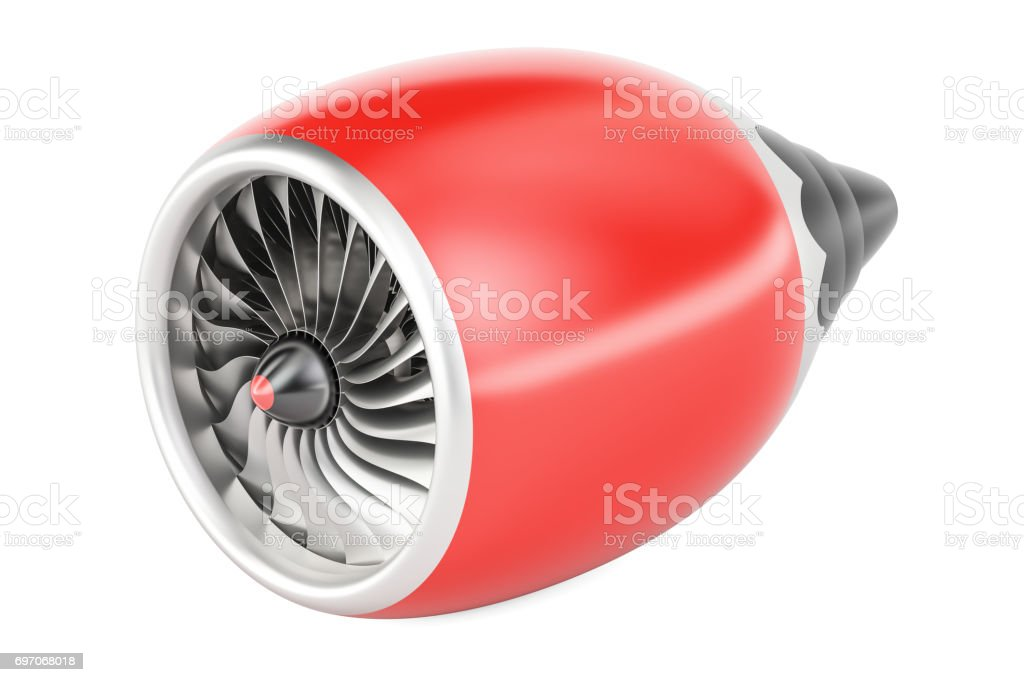red jet engine, 3D rendering isolated on white background stock photo
