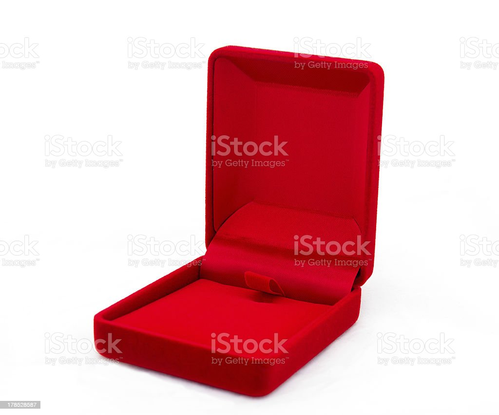 Red jewelry box isolated on white background royalty-free stock photo