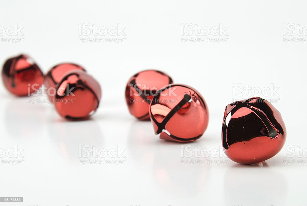 red jingle bells stock photo