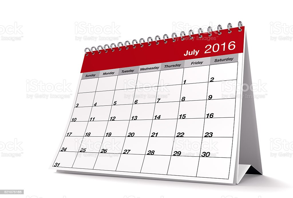 Red July 2016 Desktop Calendar on Isolated White Background stock photo