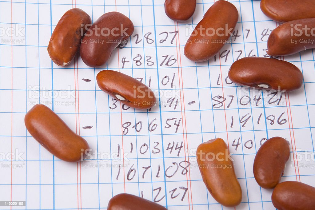 Red Kidney Beans on a Ledger Book.  Accounting Joke stock photo