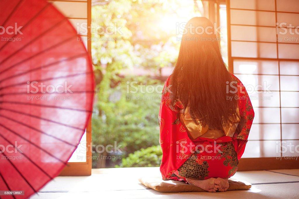 red kimono stock photo