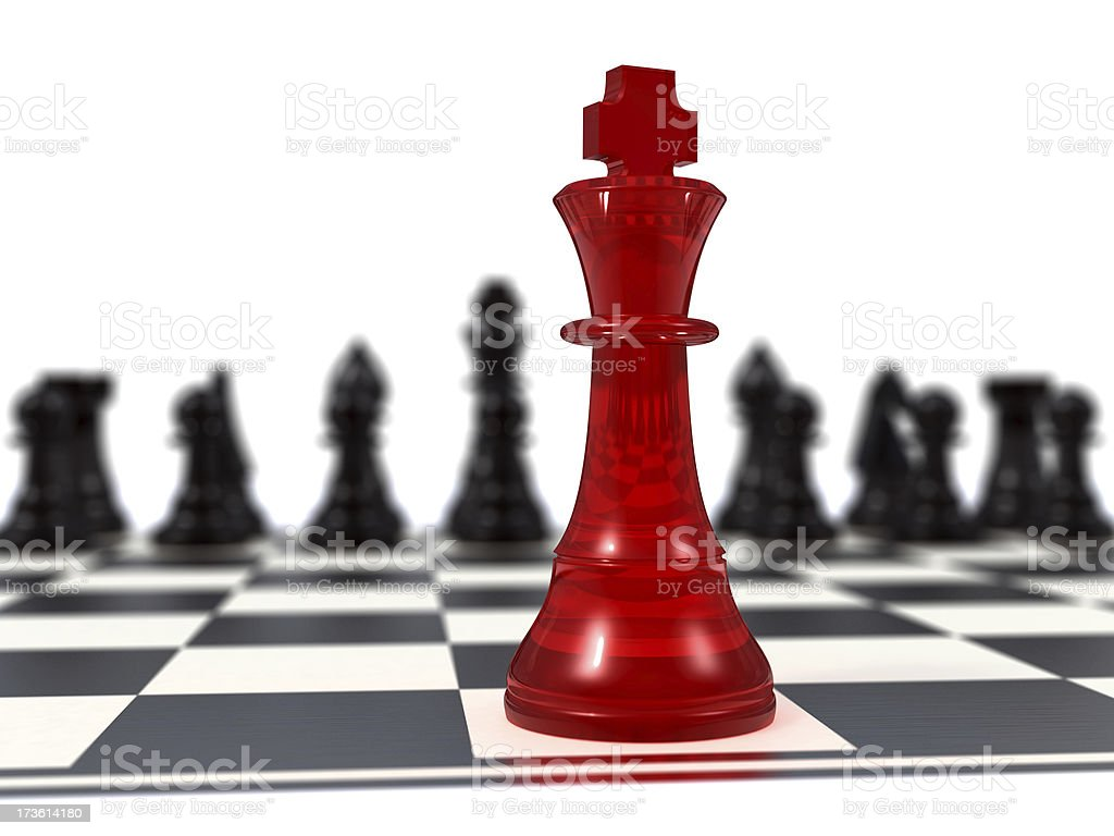Red king vs black figures stock photo
