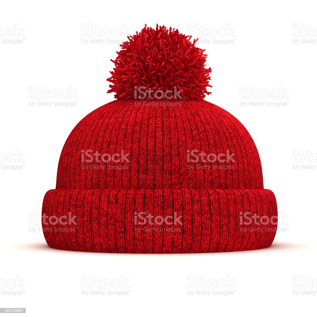 3D red knitted bobble hat on white background stock photo