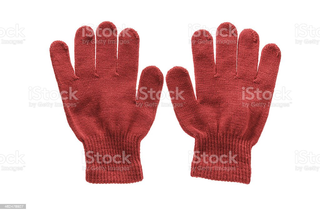 Red knitted cloth kid gloves with pattern  isolated on white royalty-free stock photo