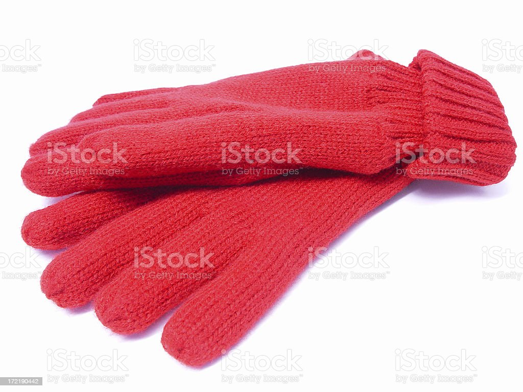 Red knitted gloves royalty-free stock photo