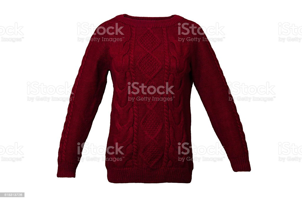 Red knitted sweater stock photo