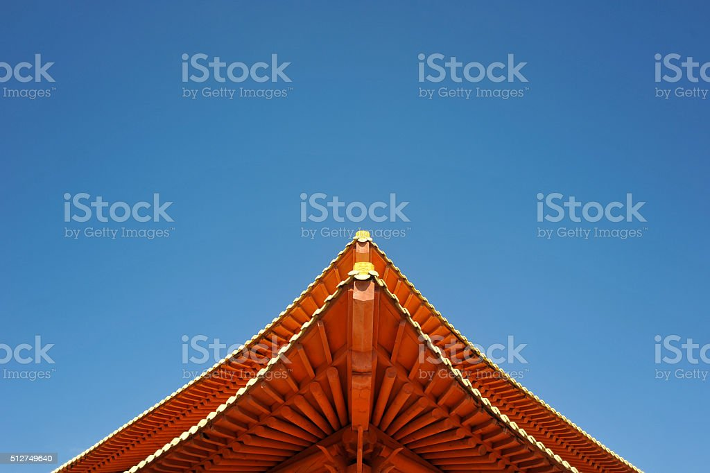 Red Korean Temple Roof stock photo