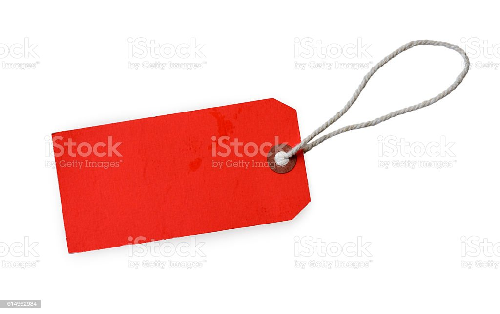 Red label (tag) isolated on white background stock photo