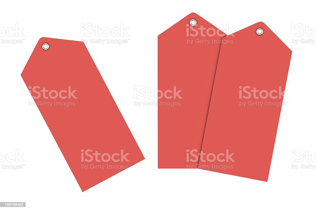 Red label on white backgroun stock photo