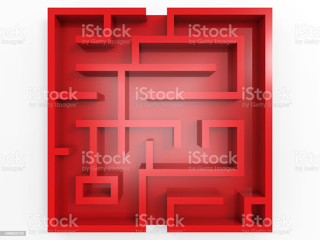 red labyrinth on white background stock photo