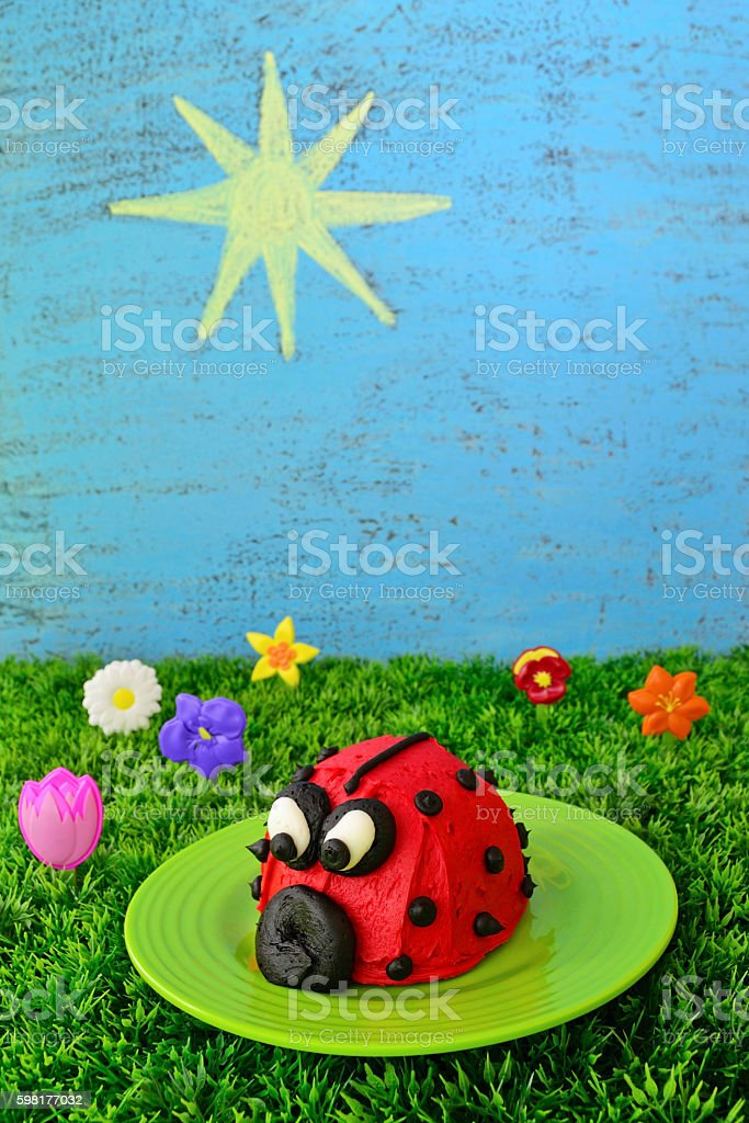Red Ladybug Cupcake stock photo