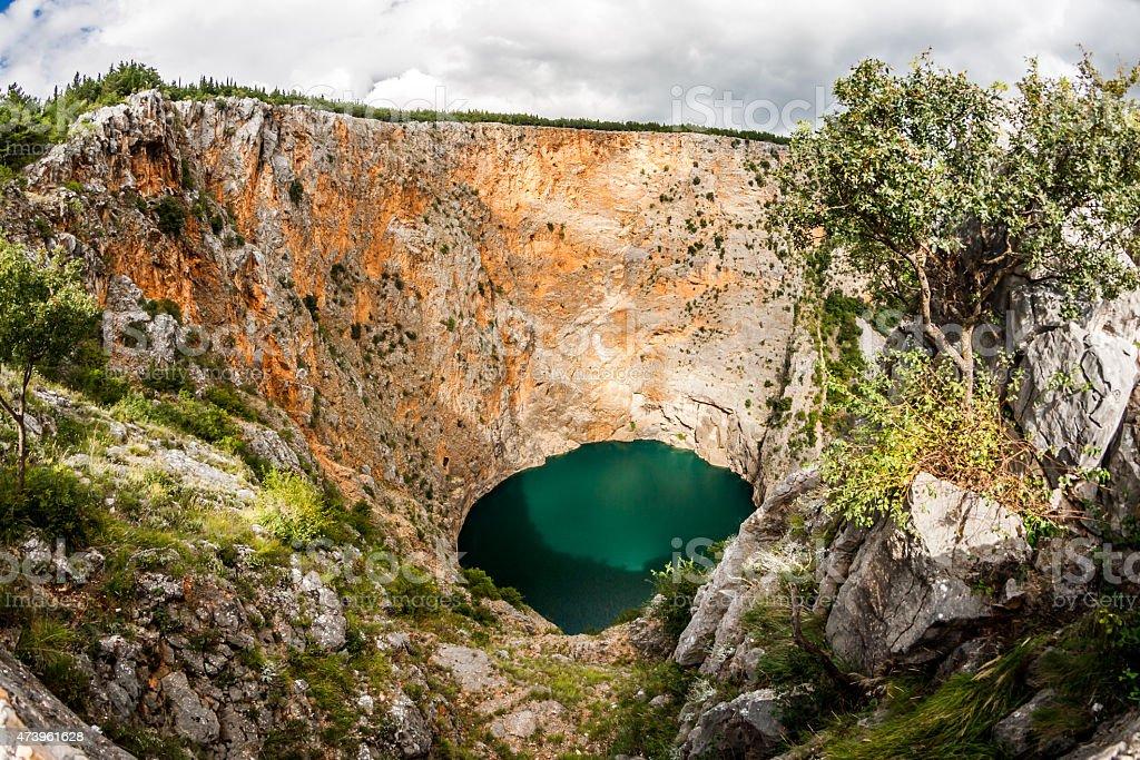 Red Lake in Imotski, Croatia stock photo