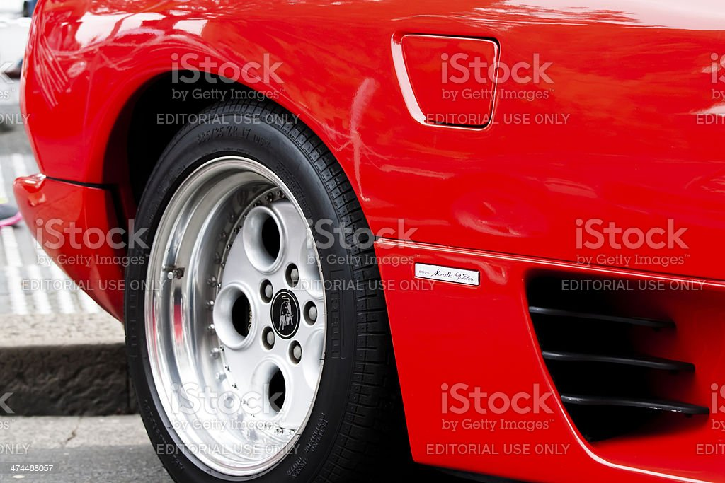 Red Lamborghini alloy wheel stock photo