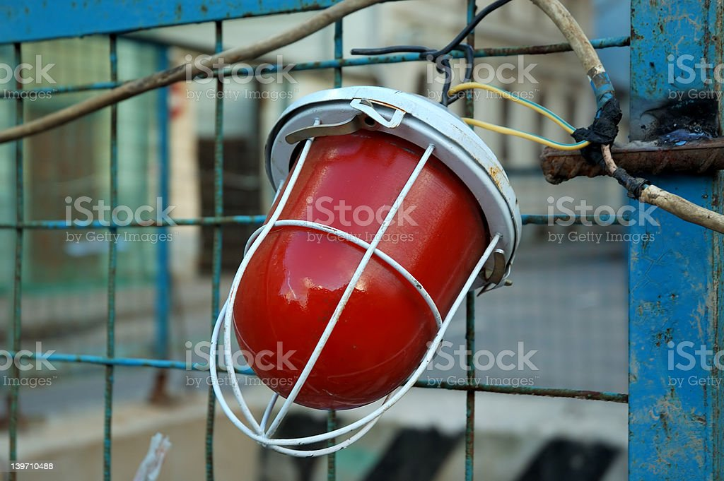 red lamp & cables 2 stock photo