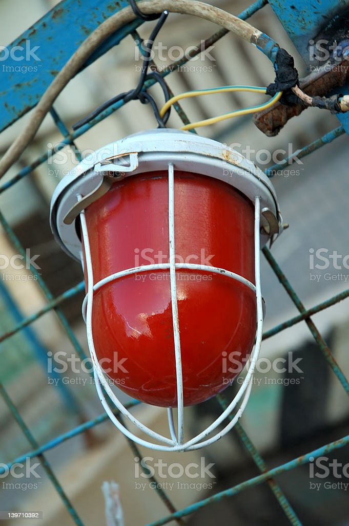 red lamp & cables stock photo