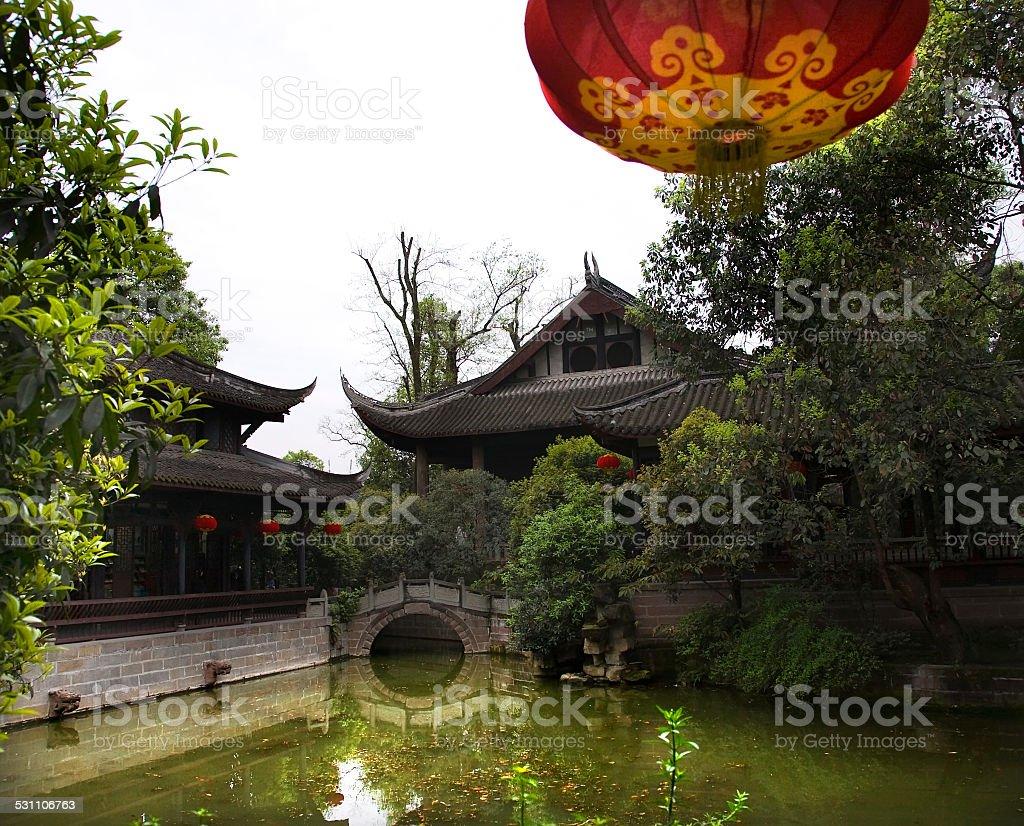 Red Lantern Bridge Three Kingdoms Temple Chengdu Sichuan China stock photo