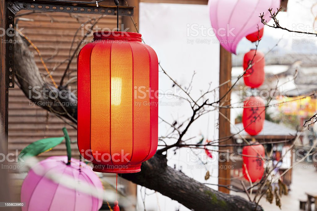 Red lantern hang on the roof royalty-free stock photo