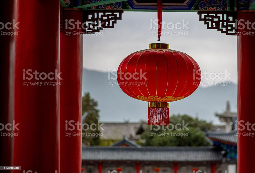red lantern hanging in palace stock photo