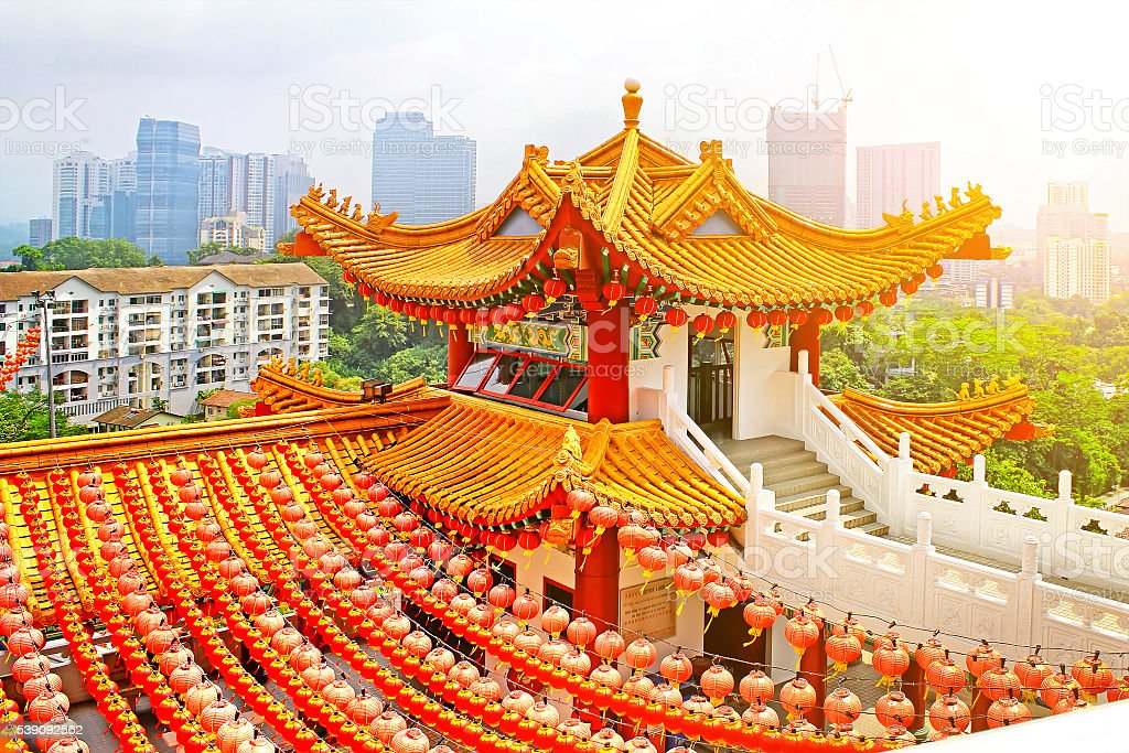 Red lanterns decoration in Thean Hou Temple stock photo