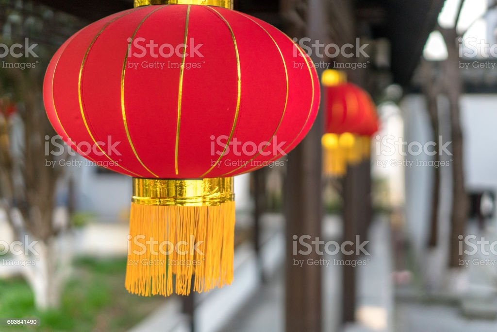 red lanterns in Chinese classic garden stock photo