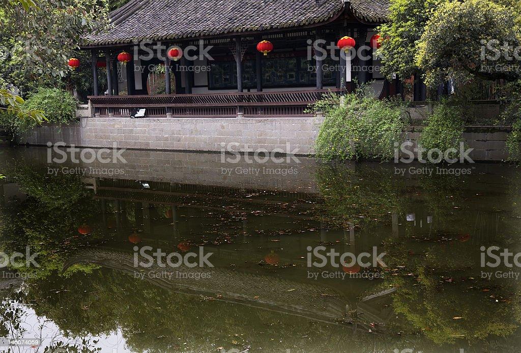 Red Lanterns Reflection Pavilion Wuhou Three Kingdoms Chengdu Sichuan China stock photo