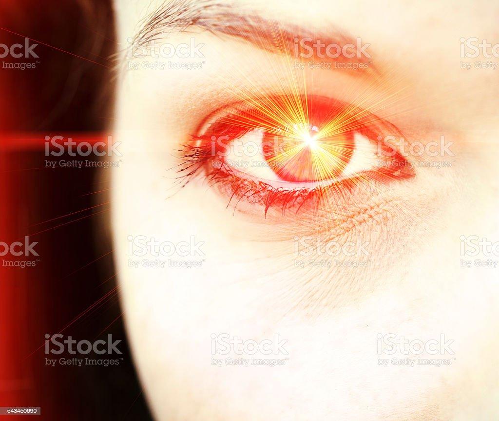 Red laser eye stock photo