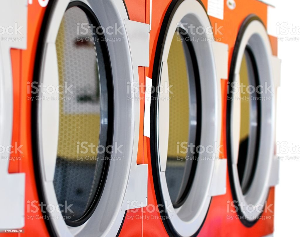 Red Laundry dryers n a row royalty-free stock photo