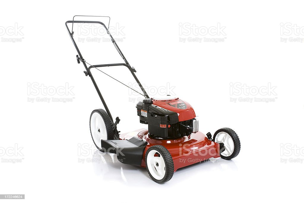 Red Lawnmower isolated on white background stock photo