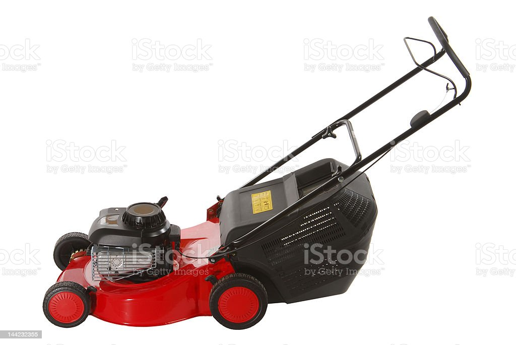Red lawnmower royalty-free stock photo