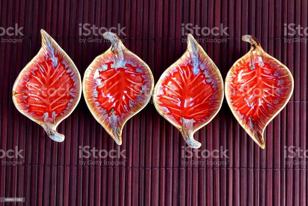 Red Leaf shape ceramic cup horizontal royalty-free stock photo