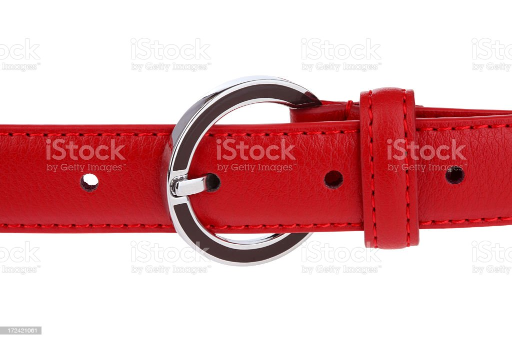 Red leather belt on white background stock photo