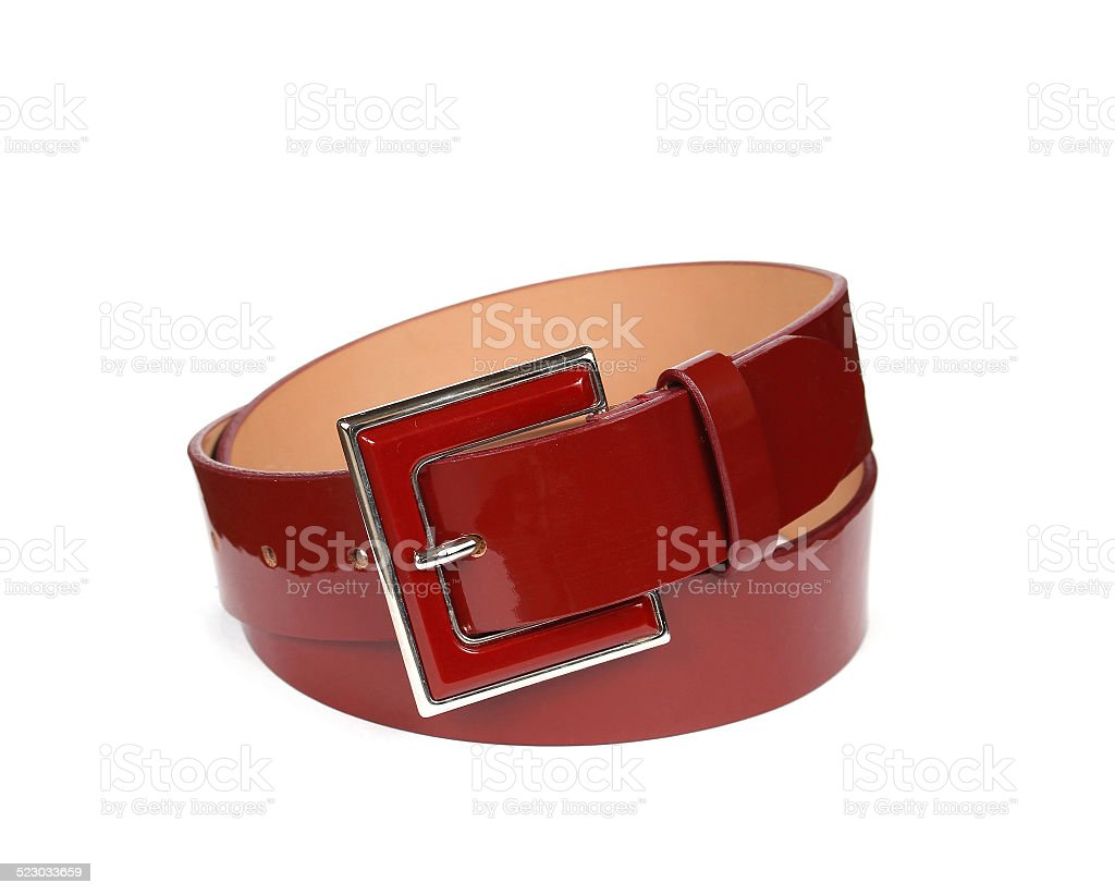 Red leather belt stock photo