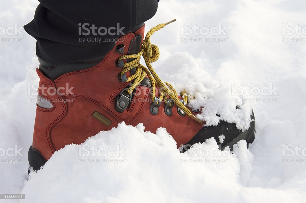 red leather boot stock photo