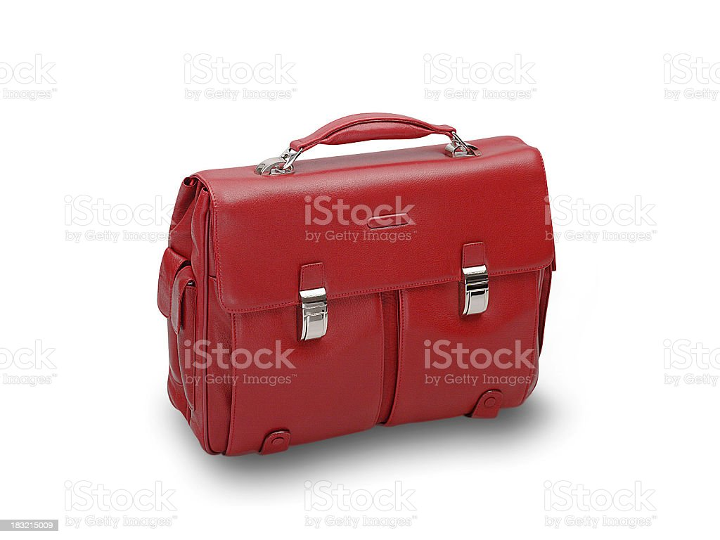 Red leather briefcase on white background stock photo