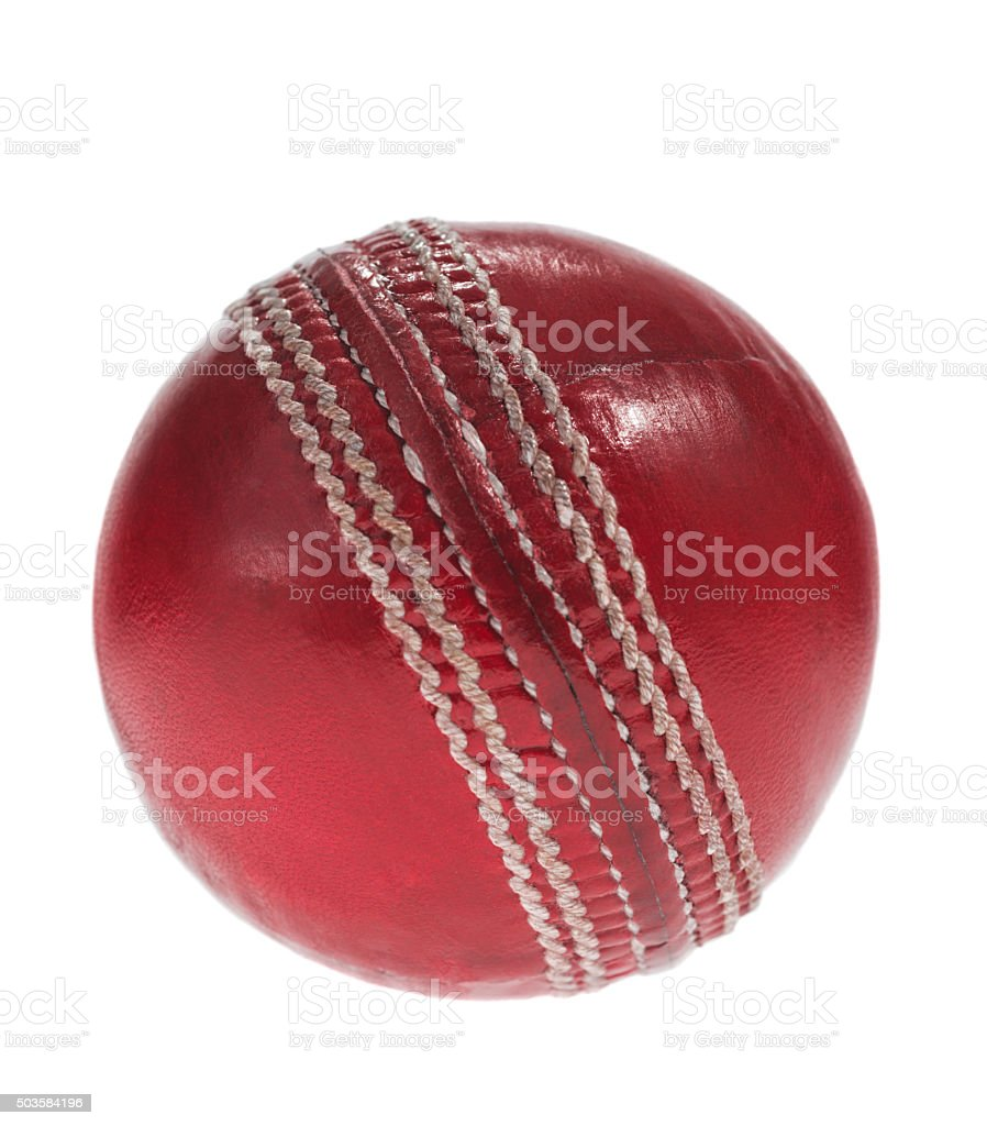 Red Leather Cricket ball on white background stock photo