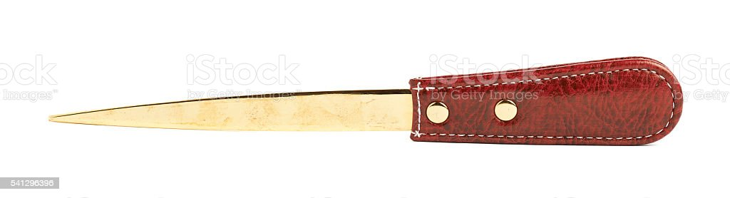 Red leather envelope knife isolated stock photo