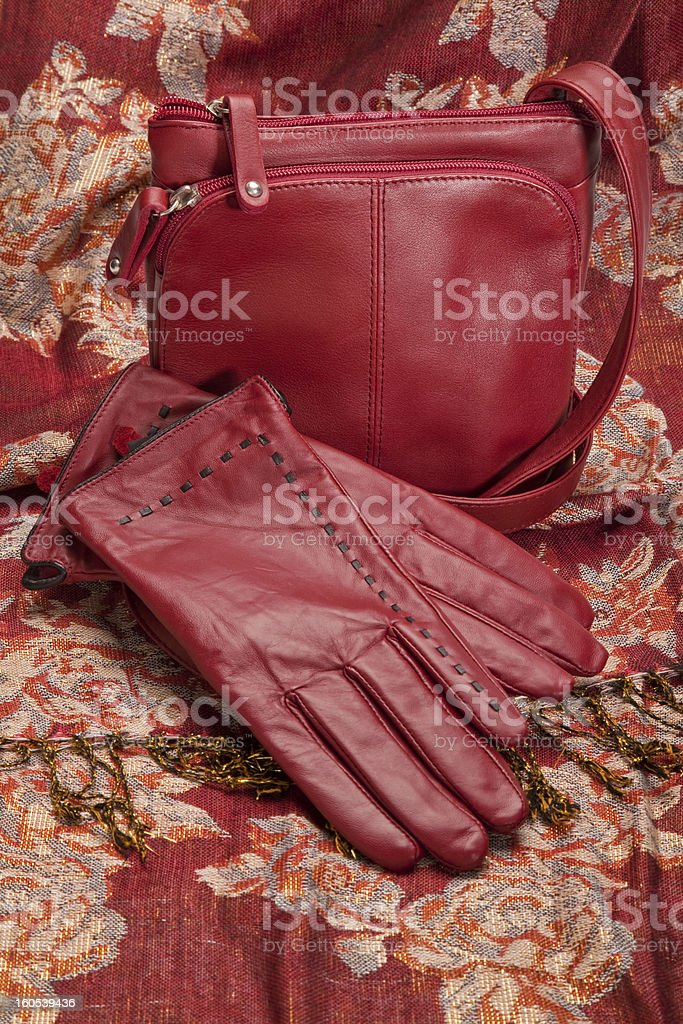 Red Leather Gloves and Purse royalty-free stock photo